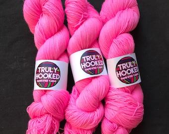 Hot Pink hand dyed merino sock yarn