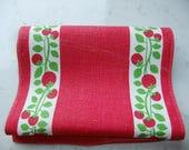 Vintage Swedish printed linen tablecloth - red berries - Ulla Scheuer design