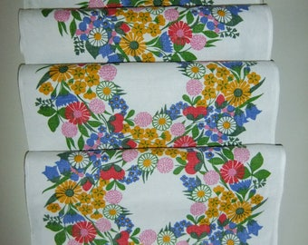 Vintage Swedish Hand printed table runner with flower wreaths