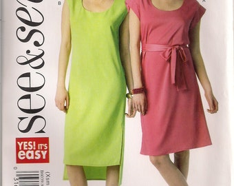 See & Sew Sewing Pattern B6039 - Misses' Dresses and Belt (XS-XXL)