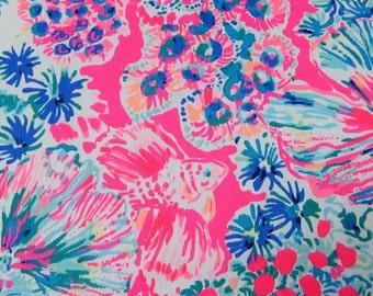 TIKI PINK GYPSEA  New Spring Cotton poplin   18 X 18 inches   ~Lilly Pulitzer~