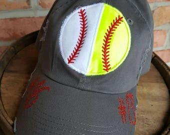 Split Softball/Baseball Ball Hat