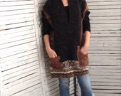 Oversized Sweater S-L, Upcycled Clothing, Sweater Poncho, Recycled Sweater, Earth Colors, One Size