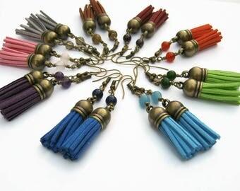 CHOOSE Your Chakra Tassel Earrings, Gemstone Earrings, Faux Leather Tassel Earrings, Boho Dangle Earrings, Vegan Earrings, Antiqued BRONZE