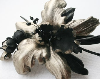 Metallic Leather Orchid Flower Brooch/ Hairclip