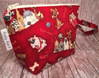 Dog fabric Zipper Pouch, Makeup Bag, Cosmetic Bag, Gadget Bag, Travel Bag, Gift for her, Gift for dog lover, Pencil Case, Coloring Bag