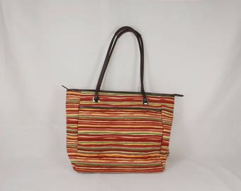 TALBOTS Striped Canvas Tote