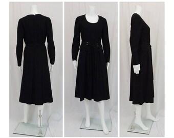 PAULINE TRIGERE Black Wool Crepe Dress Size 10