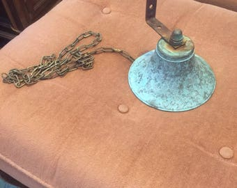 Vintage rustic weathered copper nautical hanging wall doorbell primative home decor bell free shipping