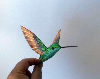 hummingbird art  paper mache  sculpture decotation bird