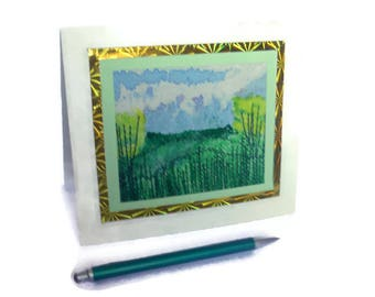 Embroidered  greeting Cards Handmade artist card