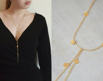 Gold Y necklace, Drop necklace, Gold coin necklace, Long lariat Y necklace, Bridesmaid necklace, Long delicate gold necklace