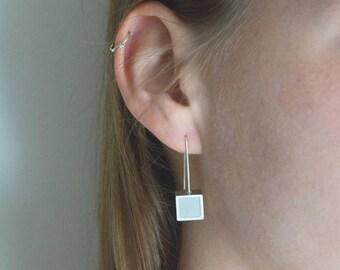 Long silver earrings, Sterling silver earrings, Polymer clay earrings, Hook earrings, Dangle earrings, Geometric earrings, Square earrings