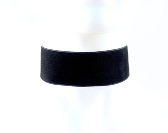 EXTRA WIDE Jet Black Velvet Choker Necklace 1.5'' Simple Plain Basic - Custom made to your size - Fashion, Statement