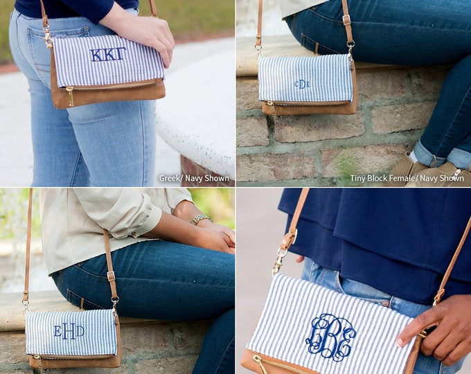 Monogrammed Seersucker Crossbody Purse, Bridesmaid Gifts, Monogrammed Gifts, Group Discounts, Bridesmaid Purse, Seersucker Clutch
