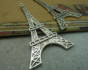 10 Eiffel Tower charm pendant antique silver 36x70mm wholesale alloy charms- w6556