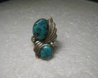 Vintage Sterling Silver Southwestern Turquoise Ring, size 7.5, 1960-1970's, 5.38 gr.