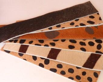 Longer cuff bracelet blanks,  mixed prints, set B - hair on hide - six pieces