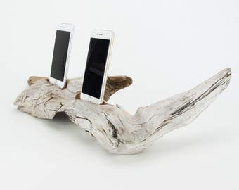 Docking Station for 2 iPhones, iPhone dock, iPhone Charger, iPhone Charging Station, driftwood dock, wood iPhone dock/ Driftwood-No. 986