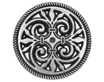 3 Filigree Fleur de Lys 7/8 inch ( 23 mm ) Metal Buttons Antique Silver Color
