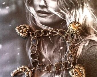 HOLIDAY SAVINGS Souvenir Charm Bracelet, 1940's Heart, Horseshoe, Ball with Palm Trees, Camel, Shepherd, Crescent Moon, Elephant