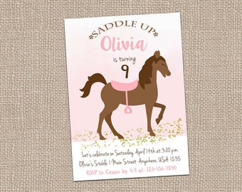 Watercolor Horse Invitation- Glitter Horse Invitation-Pony Invitation-Watercolor Invitation-saddle-watercolor horse-pony party