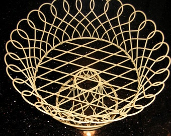 Vintage French Style Yellow Wire Basket | Console Bowl