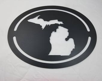 Oval Michigan State Metal Cutout Sign