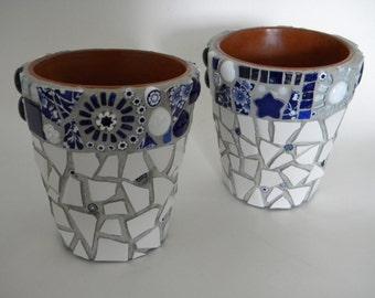 Cobalt and White Mosaic Flower Pot Duo - CUSTOM ORDER for S.K. Al-Zamel