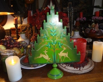 Swedish tole Christmas tree candle holder...measures 15.5 by 12 inches