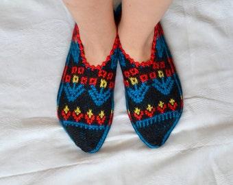 Turkish Socks Slippers, womens slippers, house shoes handmade knit slippers, womens slippers size 6 7 8