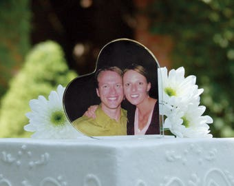 Photo Holder Cake Topper, Wedding Cake Topper, Heart Shaped Photo Holder Cake Topper, Wedding Cake Top, Wedding Photo Cake Topper