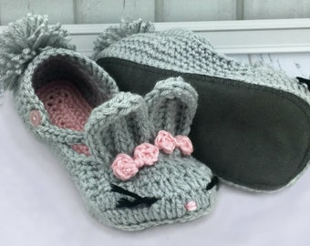Youth Bunny Slippers - Bunny Slippers - Youth House Slippers - Knitted Slippers -  Youth Crochet Shoes - Rabbit Slippers