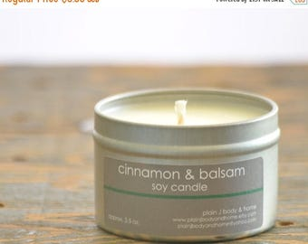 ON SALE Cinnamon & Balsam Soy Candle Tin 4 oz. - cinnamon candle - balsam candle - fall candle - holiday candle - balsam fir candle - winter