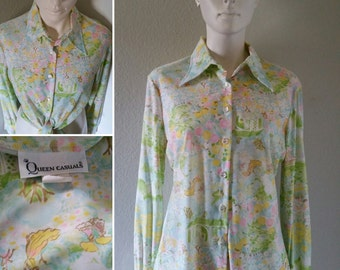vintage Queen Casuals womens button up nylon disco psychedelic glam boho hippie medium large women with parasols print pastels like Nik Nik