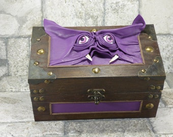 Monster Trunk Desk Organizer Pencil Box Magic The Gathering Trinket Storage Stash Chest Purple RPG Leather Harry Potter Labyrinth