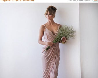 Spring Sale Wrap maxi pink bridesmaids gown, Pink blush maxi gown 1033