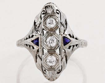 Antique Ring - Antique 1920's 18k White Gold Diamond & Sapphire Ring