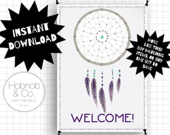 Printable boho dreamcatcher party welcome sign INSTANT DOWNLOAD