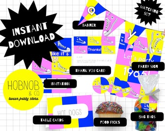 Printable 80s party set INSTANT DOWNLOAD