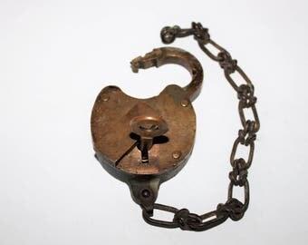 Vintage Eagle Lock Co. Brass Railroad Lock w/ key
