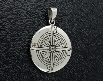 Sterling Silver Compass Pendant Good Luck Charm Free Shipping