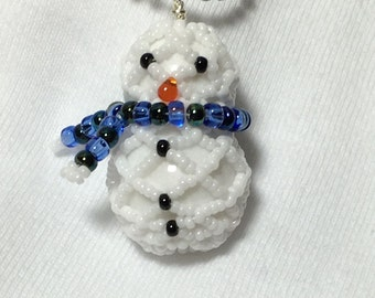 Beaded Snowman Snowman Necklace Winter Pendant Beadwork Pendant Snowman Pendant Winter Necklace Winter Bead Pendant Holiday Jewelry
