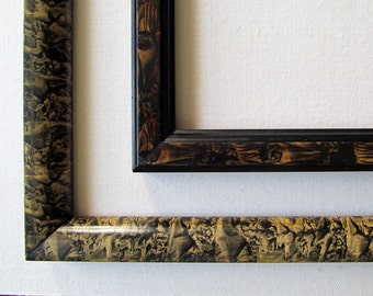 2 Marbleized Finish Over Wood, Lovely Antique Picture Frames, Satiny Finish, c.1900, Ready to Use in an Arrangement!
