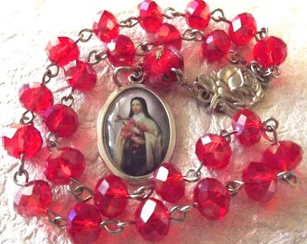 St. Therese of Lisieux (The Little Flower) Red Rosary Chaplet
