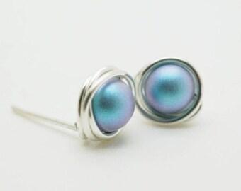 Pearl ear studs, Sterling silver swarovski earring, Swarovski elements, Pearl earstuds