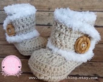 Baby UGG Boots, Linen Crochet Baby Boots, Baby girl Booties, Baby winter boots, Crochet Booties, Baby Girl UGG