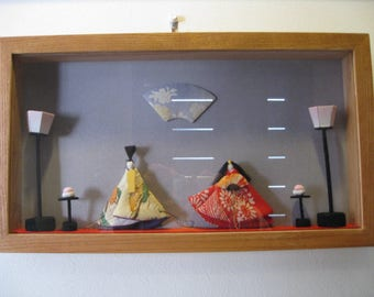 Wall hanging,All Habdmade Hina doll in the frame,kimonno silk fabric,