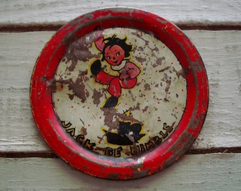 FREE Shipping! Ohio Art LITHO Tin Toy PLATE: Jack Be Nimble Art by Fern Bisel Peat- Vintage Play, Tin Dish