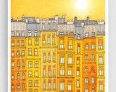30% OFF SALE: Yellow facade - Paris illustration Art Print Poster Home decor Wall decor Gift ideas for her Modern Living room decor Paris ho